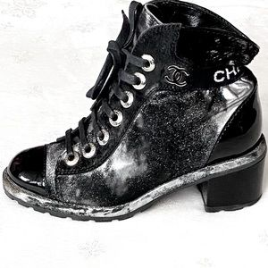 RARE CHANEL Distressed Calf Hair Combat Boots